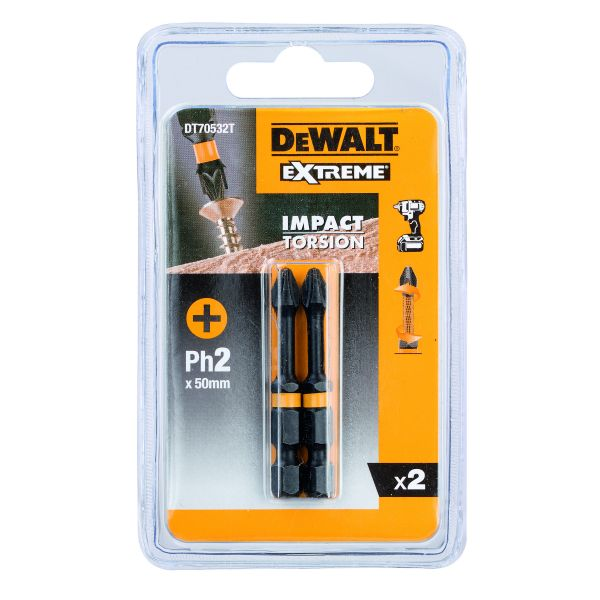 Биты ударные IMPACT Torsion (Ph2, 50мм, 2 шт.) DEWALT DT70532T-QZ DT70532T-QZ