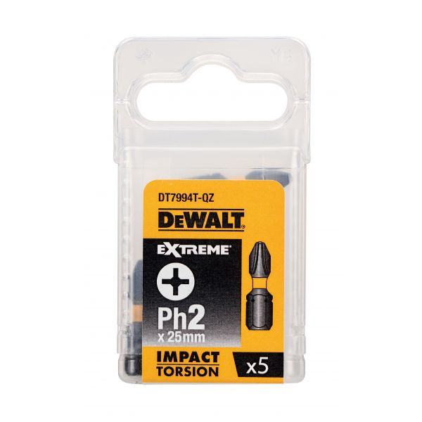 Биты ударные IMPACT Torsion Ph2 25мм 5шт. DEWALT DT7994T-QZ DT7994T-QZ