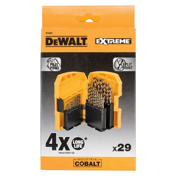 Набор сверл DEWALT HSS-Co DT4957, по металлу COBALT 5%, 1-13, 29 шт.